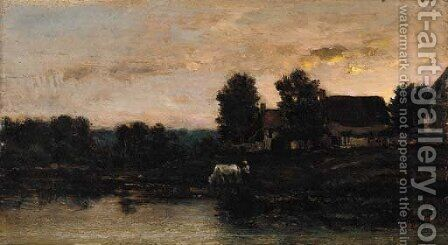 Cattle watering in a twilight landscape by (after) Charles-Francois Daubigny - Reproduction Oil Painting
