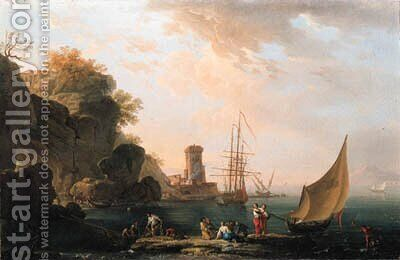 A Mediterranean coast with fishermen and other figures on the shore, a harbor and shipping beyond by (after) Charles Francois Lacroix De Marseille - Reproduction Oil Painting