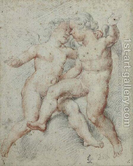 Two putti embracing by (after) Cherubino Alberti - Reproduction Oil Painting