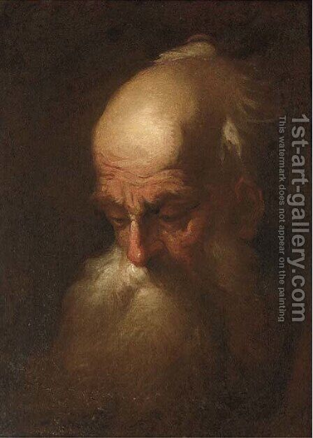Head of an old man by (after) Christian Wilhelm Ernst Dietrich - Reproduction Oil Painting