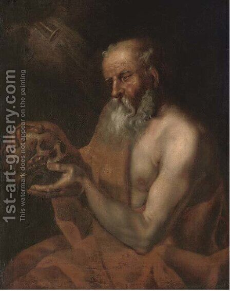 Saint Jerome by (after) Christian Wilhelm Ernst Dietrich - Reproduction Oil Painting