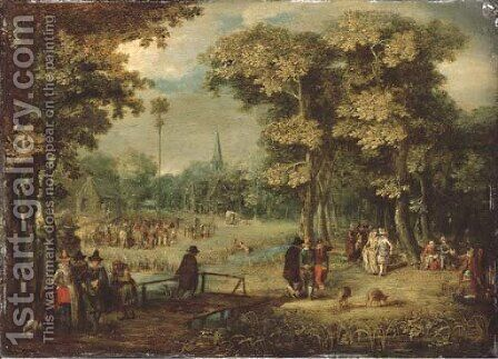 A wooded village landscape with elegant figures by (after) Christoffel Van Den Berghe - Reproduction Oil Painting