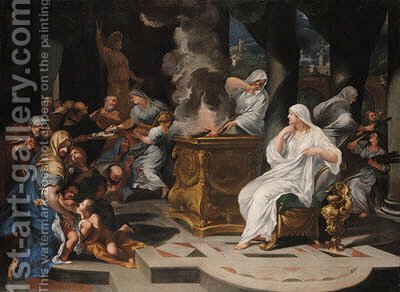 The Virgins tending the fire in the Temple of Vesta by (after) Ciro Ferri - Reproduction Oil Painting