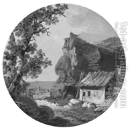 A landscape with a house near rocks by (after) Claude-Henri Watelet - Reproduction Oil Painting