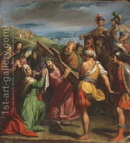 Christ Carrying the Cross by (after) Carlo Antonio Ridolfi - Reproduction Oil Painting