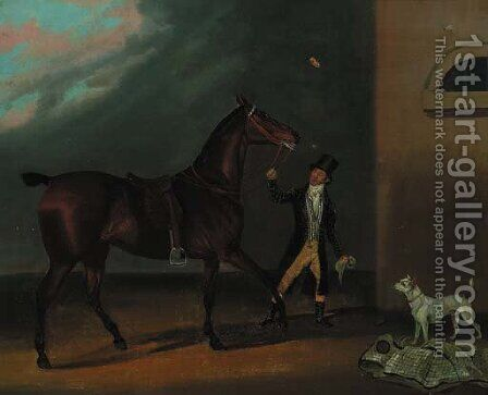 A bay racehorse with a groom and a dog outside a stable by (after) Clifton Tomson - Reproduction Oil Painting