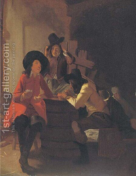 Soldiers in a tavern by (after) Constantin Verhout Or Voorhout - Reproduction Oil Painting
