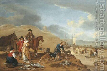 A coastal landscape with elegant company by a fish stall on a beach by (after) Cornelis Beelt - Reproduction Oil Painting