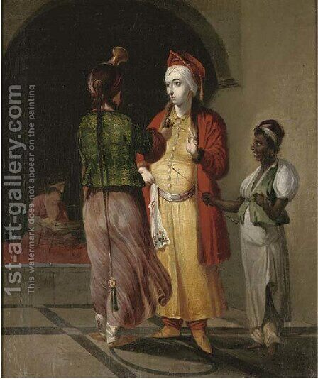 Two Moorish courtesans and a servant in an archway by (after) Cornelis De Bruyn - Reproduction Oil Painting