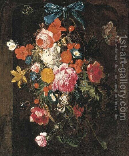 Roses by (after) Cornelis De Heem - Reproduction Oil Painting