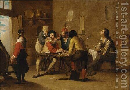 Peasants smoking and drinking in a tavern by (after) Cornelis De Wael - Reproduction Oil Painting