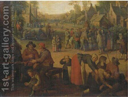 A village scene with numerous peasants and a travelling merchant beyond by (after) Cornelis Droochsloot - Reproduction Oil Painting