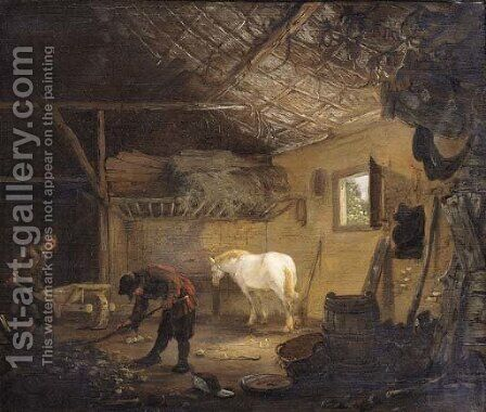 Grooms at work in a stable by (after) Cornelius Decker - Reproduction Oil Painting