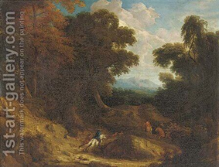 A stag hunt in a wooded landscape by (after) Cornelis Huysmans - Reproduction Oil Painting