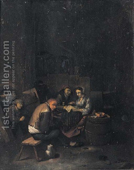 Peasants reading a letter in a tavern by (after) Cornelis (Pietersz.) Bega - Reproduction Oil Painting
