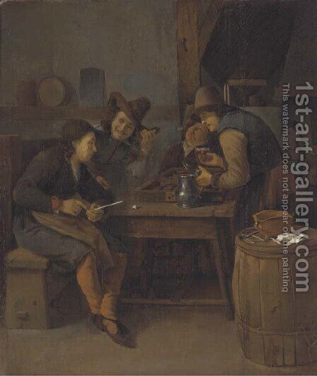 A tavern interior with men drinking, smoking and playing backgammon by (after) Cornelis Schaeck - Reproduction Oil Painting