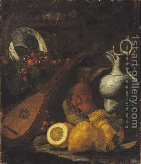 Still life of lemons by (after) Cristoforo Munari - Reproduction Oil Painting