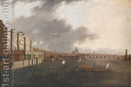 The Thames at Somerset House, with St. Paul's beyond by (after) Daniel Turner - Reproduction Oil Painting