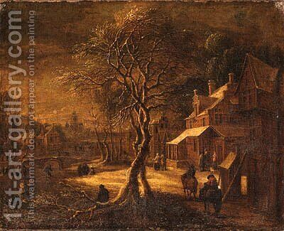 A Winter Landscape with Travellers on a Path in a Village, a frozen Waterway nearby by (after) Daniel Van Heil - Reproduction Oil Painting
