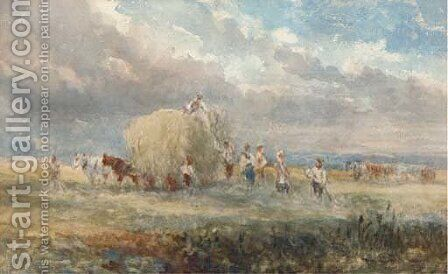 Harvesters loading the hay wagon by (after) Cox, David - Reproduction Oil Painting