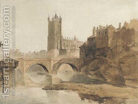 Manchester Cathedral from the River Irwell by (after) David Sen Cox - Reproduction Oil Painting