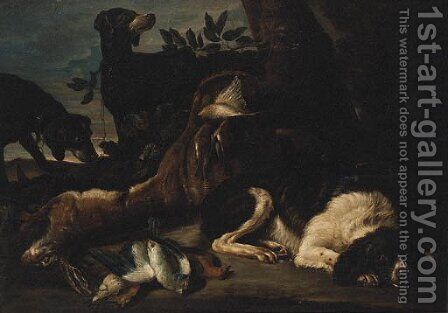 A Hunt Still Life with Hounds and a Spaniel guarding dead Game by (after) David De Coninck - Reproduction Oil Painting