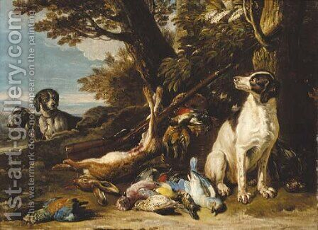 Hounds with dead game and a rifle in a landscape by (after) David De Coninck - Reproduction Oil Painting