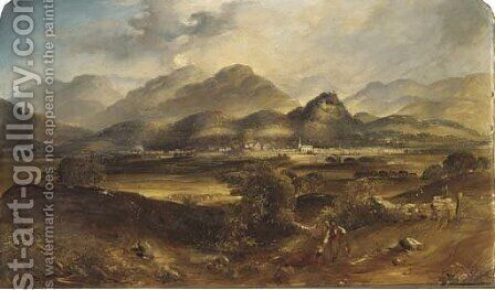 Figures in a Scottish landscape with Comrie and Strathearn beyond by (after) David Octavius Hill - Reproduction Oil Painting