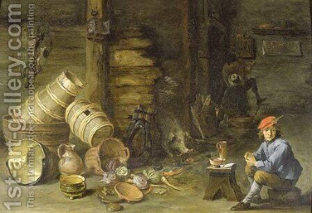 A young man filling a pipe in an interior by (after) David The Younger Teniers - Reproduction Oil Painting