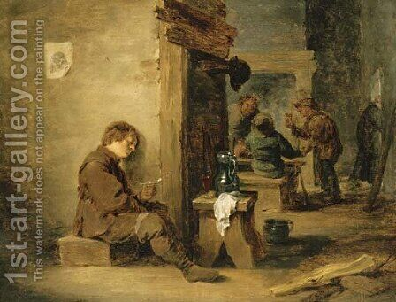 Peasants smoking and drinking in a tavern by (after) David The Younger Teniers - Reproduction Oil Painting