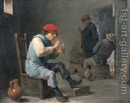 Smokers in a tavern by (after) David The Younger Teniers - Reproduction Oil Painting