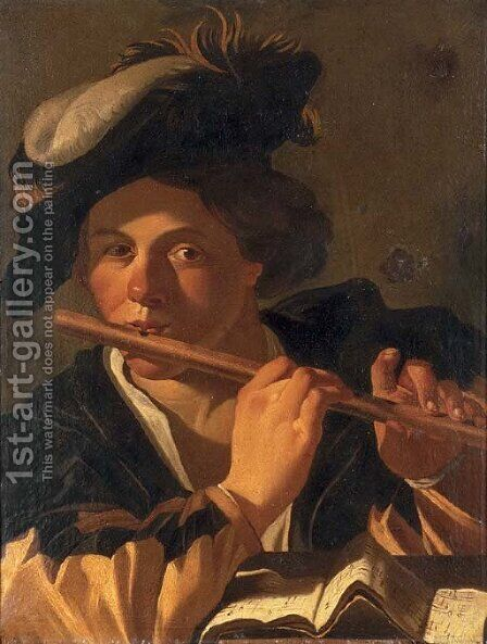 A musician playing the flute by (after) Dirck Van Baburen - Reproduction Oil Painting