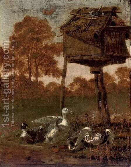 Ducks by a stream with a dovecote by (after) Dirck Wijntrack - Reproduction Oil Painting