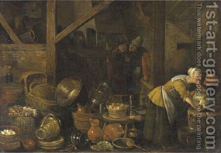 A kitchen interior with peasants by (after) Dirck Wyntrack - Reproduction Oil Painting