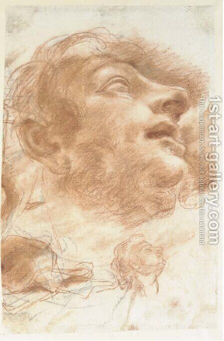 Head of a man looking up by (after) Domenico Maria Canuti - Reproduction Oil Painting