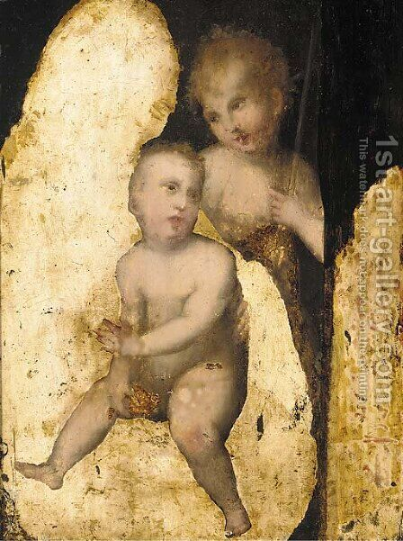 The Madonna and Child with the Infant Saint John the Baptist by (after) Domenico Puligo - Reproduction Oil Painting