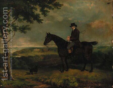 A gentleman on a hunter, with a terrier, Harewood House beyond by (after) Eddis, Eden Upton - Reproduction Oil Painting