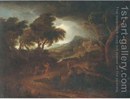 Figures in an Arcadian landscape by (after) Edmund Gill - Reproduction Oil Painting