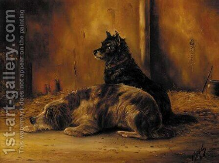 Two dogs in a barn by (after) Edwin Armfield - Reproduction Oil Painting