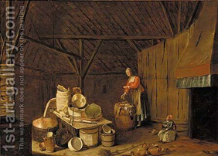The interior of a barn with a woman washing clothes by (after) Egbert Van Der Poel - Reproduction Oil Painting