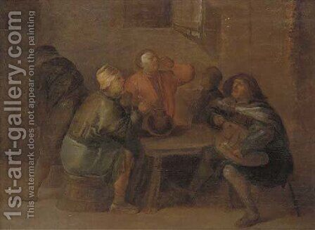Peasants drinking and making music in an interior by Egbert Jaspersz. Van, The Elder Heemskerck - Reproduction Oil Painting