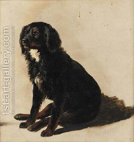 A seated dog, a sketch by (after) Eugene Joseph Verboeckhoven - Reproduction Oil Painting