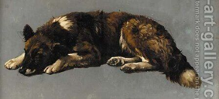 A sleeping dog, a sketch by (after) Eugene Joseph Verboeckhoven - Reproduction Oil Painting