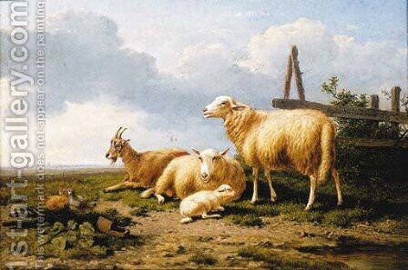 Sheep, a goat and chickens in a landscape by (after) Eugene Joseph Verboeckhoven - Reproduction Oil Painting