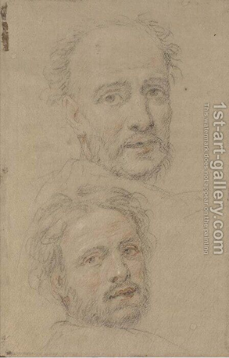 Two heads of bearded men by (after) Federico Zuccaro - Reproduction Oil Painting