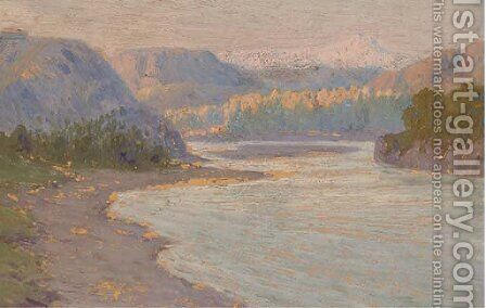 The river Kura near Tiflis by (after) Fedor Zakharov - Reproduction Oil Painting