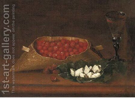 Strawberries and a glass of wine on a wood ledge by (after) Galizia Fede - Reproduction Oil Painting