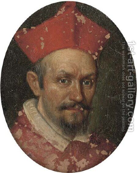Portrait of a cardinal, bust-length by (after) Filippo Lauri - Reproduction Oil Painting