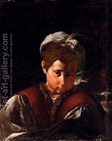 Portrait of a boy with a plumed hat by (after) Flaminio Torri - Reproduction Oil Painting