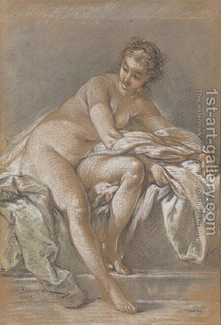 A seated female nude by (after) Francois Boucher - Reproduction Oil Painting